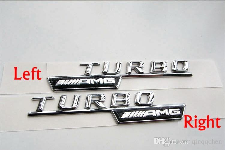 Hohe qualität ABS 3D Aufkleber auto körper stick Für Mercedes Benz turbo AMG lade TURBO dekoration 2 teile / satz
