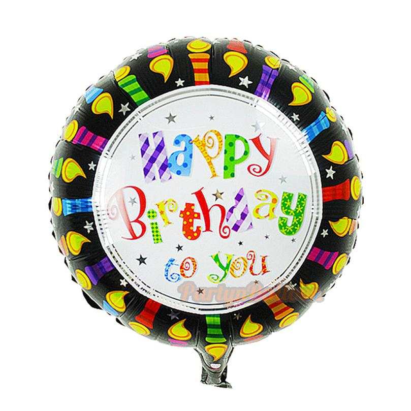 Black Happy Birthday Words Foil Mylar Balloon Cake Cartoon Toys For Baby Decoration Balloons Delivery Helium Delivered From