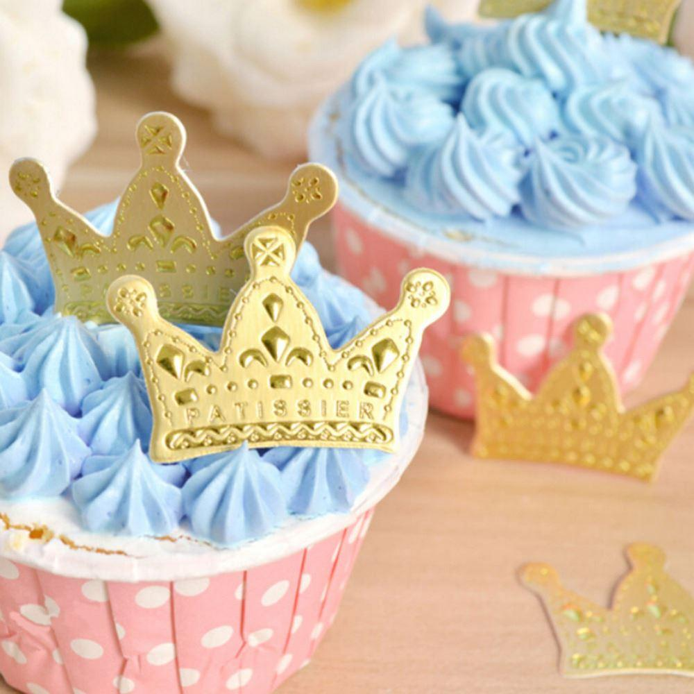 2018 New Favors Party Cake Cupcake Picks Paper Gold Princess Crown ...
