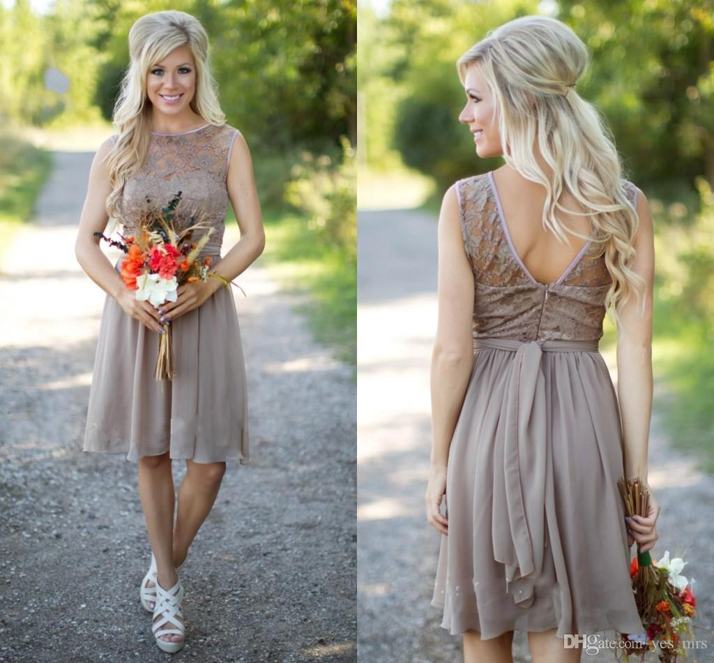 2016 hot champagne country style bridesmaid dresses jewel neck 2016 hot champagne country style bridesmaid dresses jewel neck western wedding guest wear lace chiffon knee length party maid of honor gowns bridesmaids ombrellifo Choice Image