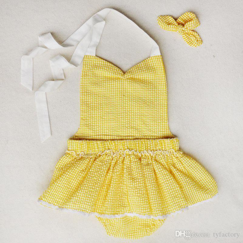 Дешевая цена горячая распродажа новорожденных девочек ползунки платья наряды младенцев малыша прекрасный желтый vestidos белый лук дети боди бесплатная доставка