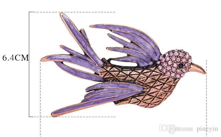 Vintage Animal Bird Parrot Broches Expoyed Aleación Broche Pin Accesorios de la ropa para mujeres y niñas CY02