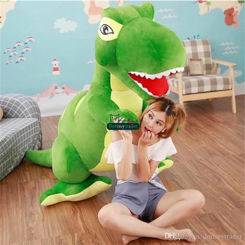 Dorimytrader Large Simulated Animal Tyrannosaurus rex Plush Toy Stuffed Anime Dinosaur Doll Crazy Gift for Kids 205cm 81inch DY61706