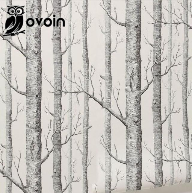 Amazing Forest Wall Mural Birch Tree Pattern Woods Wallpaper Roll Modern Simple  Wallpaper Design Black White Wall Paper For Living Room Desktop Backgrounds  ...