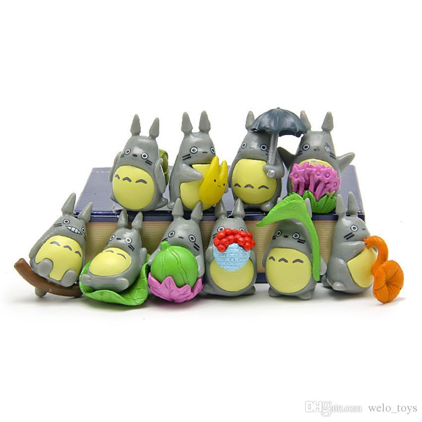 10шт/набор мини-персонажа Тоторо набор фигурок дисплей детские игрушки DIY торт toppers декор мультфильм аниме фильм ПВХ фигурку