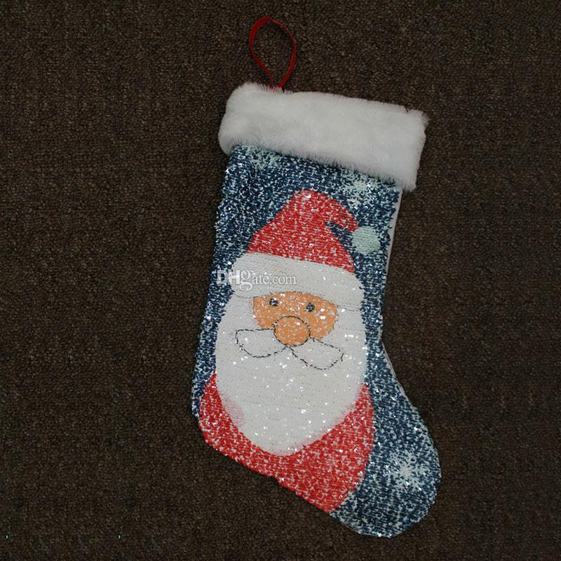 لوازم 4 تصميم مزدوجة الترتر حورية البحر عيد الميلاد الجورب زينة عيد الميلاد كيس الهدايا بابا نويل ثلج عيد الميلاد حزب شجرة WX9-97