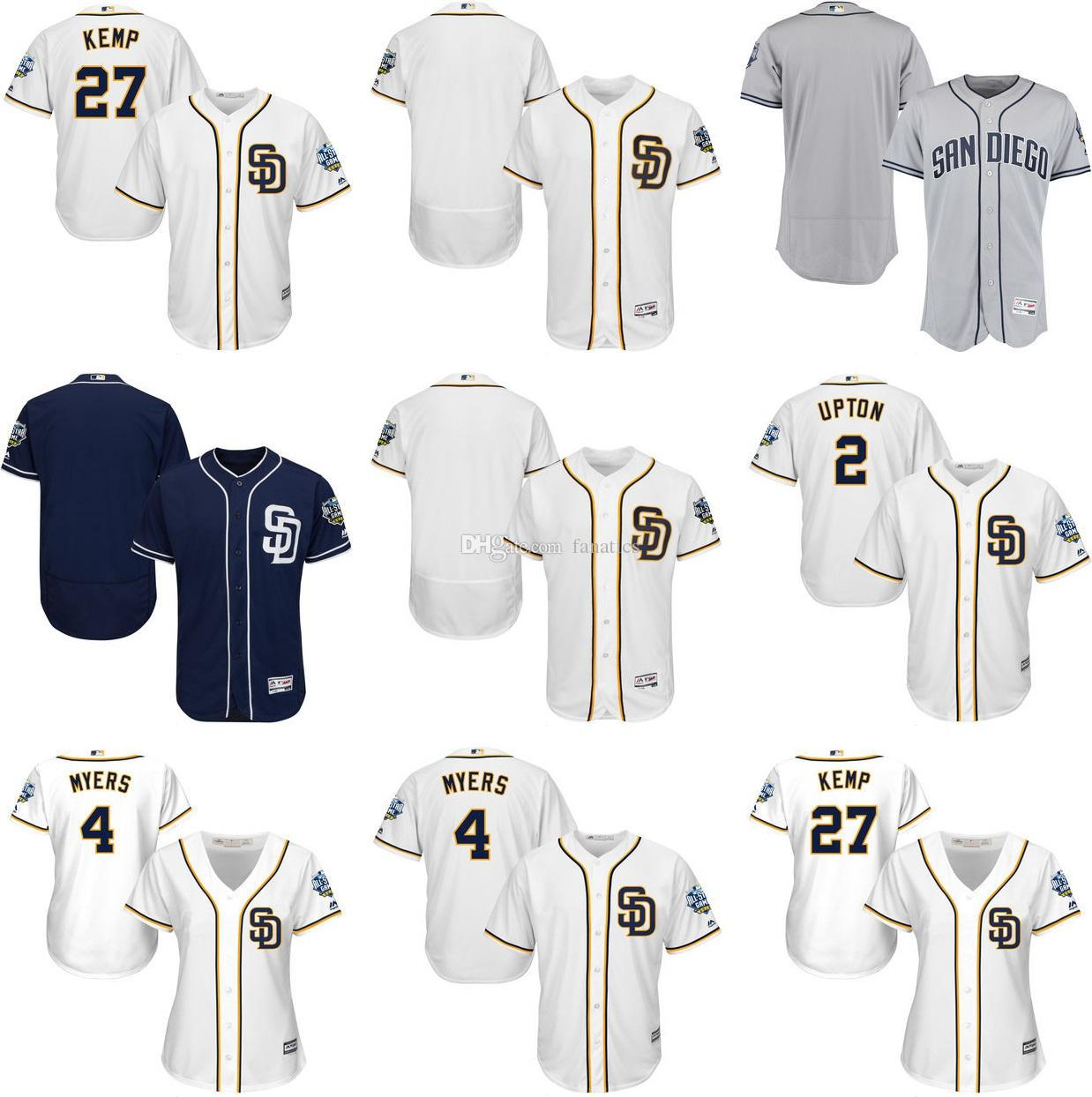 497155bb6ce ... Best Mens Womens Kids San Diego Padres 27 Matt Kemp 2 Melvin Upton 4  Wil Myers Majestic San Diego Padres Womens White Cool Base Jersey ...