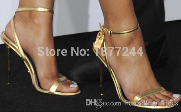 Sexy Women Summer Open Toe Gold High Heel Lock Ankle Strappy Strap Celebrity Shoes Gladiator Sandals