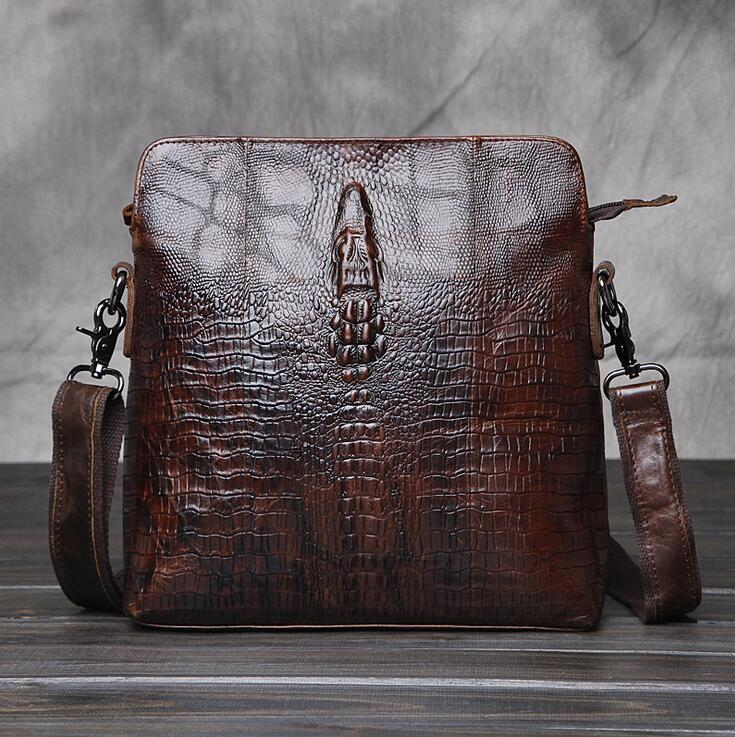 98a70a55e61ce Wholesale Brand Bag Retro Wax Leather Crocodile Embossed Leather ...