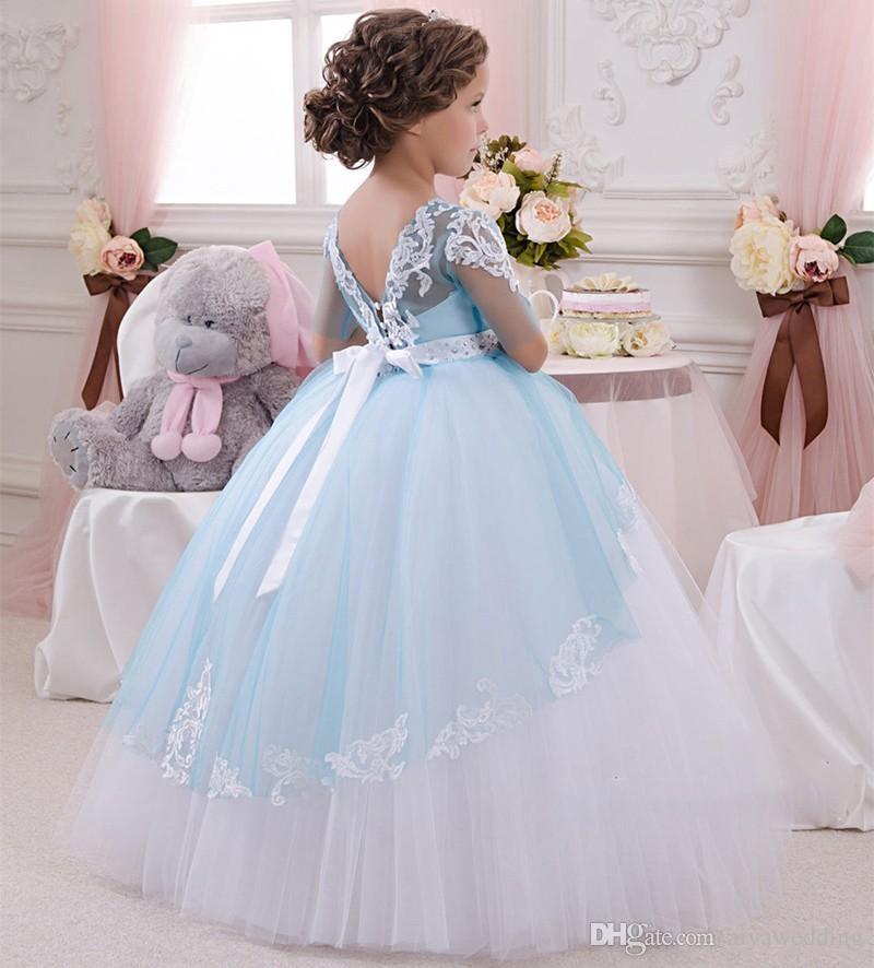2021 Neue Baby Prinzessin Blumenmädchen Kleid Spitze Appliques Hochzeit Prom Ball Kleid Geburtstagsgemeinschaft Kleinkind Kinder Tutu Kleid