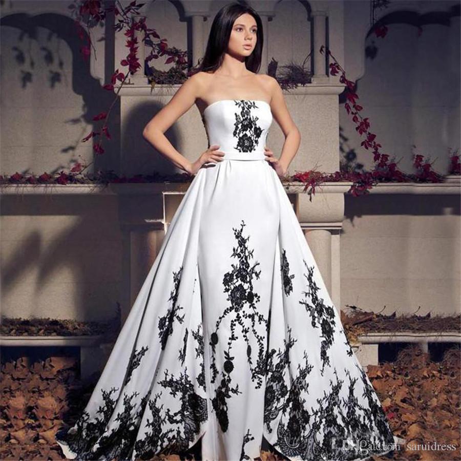 Nuovo applique di pizzo senza spalline pizzo schiena lungo abiti da sposa lunghi vintage abiti da sposa in bianco e nero Vestidos de Novia