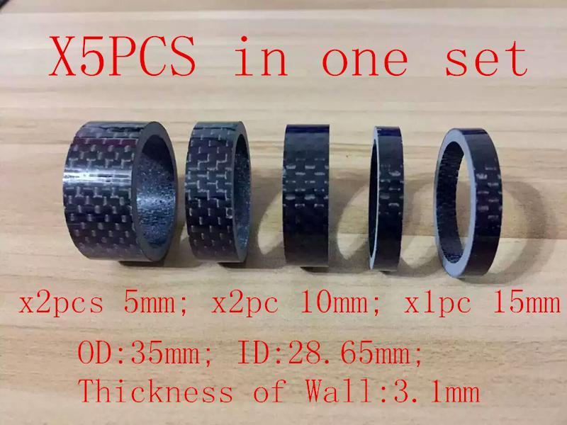 5 pezzi 1-1 / 8 pollici bicicletta auricolare in fibra di carbonio rondella set bici auricolare staminali distanziatori kit bici fix refit 5mm * 2 / 10mm * 2 / 15mm * 1