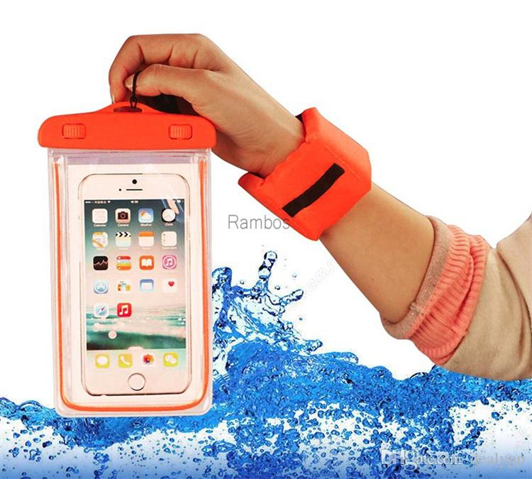 Floating Waterproof Dry Bag Noctilucent Dust Proof Mobile Phones Case for iPhone 6 /6plus /7 with Wrist Strap