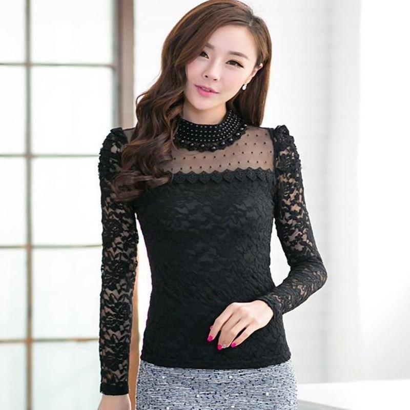 2018 Women Korean Blouse Long Sleeve Pearl Beaded Lace ...