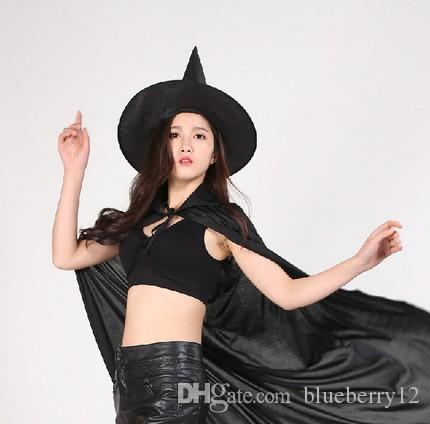 New Halloween Cosplay Party Witches Gothic Beauties With Hat Suit Woman Pattern Costume Halloween Scare Performance Clothes Wear Suit