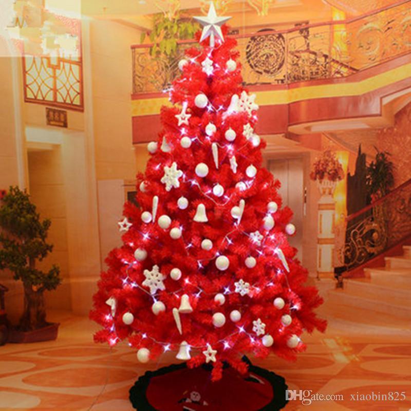 Albero Di Natale Grande.1 8 M 180cm Grande Albero Di Natale Rosso Decorato Crittografia Pacchetto Albero Di Natale Layout Di Scena Di Natale