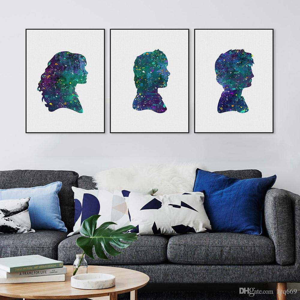 Triptych Original Watercolor Pop Movie Harry Potter Canvas Art Print Poster Wall Pictures Kids Room Home Decor Painting No Frame