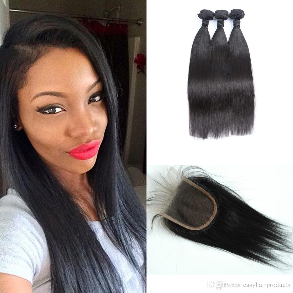 Malaysian Virgin Human Weave Hair Weft Extensions 3 Bundles With Top