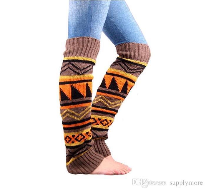 Böhmische Frauen stricken Beinwärmer warme Stiefelmanschetten verdicken Winterwollestrümpfe Häkelarbeit-Strick-Bein-Wärmer freies Verschiffen