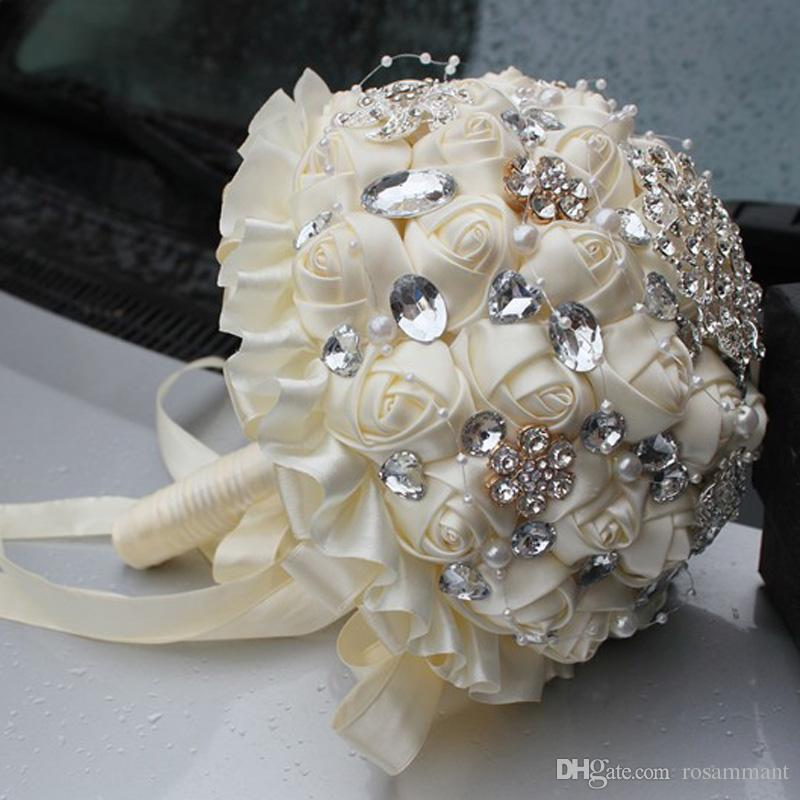 Wholesale Ivory Cream Brooch Bouquet Wedding Bouquet de mariage Polyester Wedding Bouquets Pearl Flowers buque de noiva