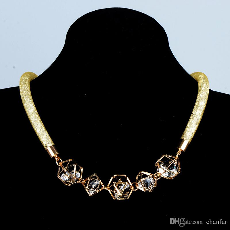 Brand New Mesh Necklace With Full Crystal Filled Gold Plated Pendant Choker Necklace For Women Girl Gift
