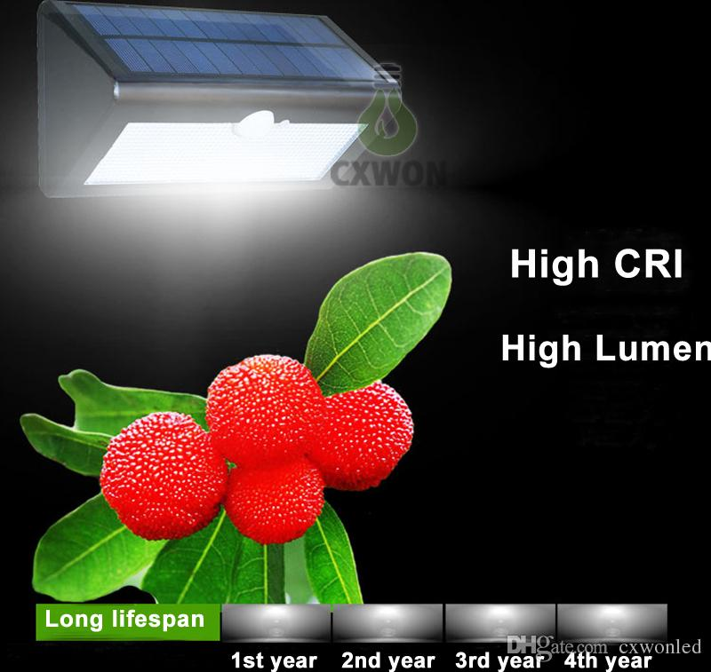 Capteur de radar à LED de lumière de mur de lumière solaire extérieure actionnée solaire lampe de jardin ABS + PC couverture 1000lm ampoule imperméable
