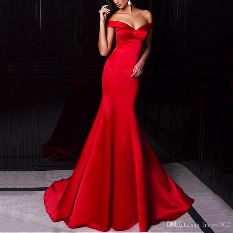 Abiti Vestidos Cortos de Gala Modest sirena lunga Prom Off abiti del partito del vestito delle donne della spalla dell'innamorato raso rosso sera del partito di Ombre