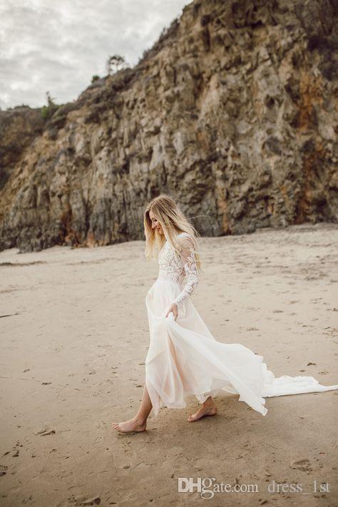 Bohemian Country Beach Brautkleider mit Sheer Long Sleeves 2017 Spitze Appliqued Chiffon Lange Boho Brautkleider Nach Maß China EN9291