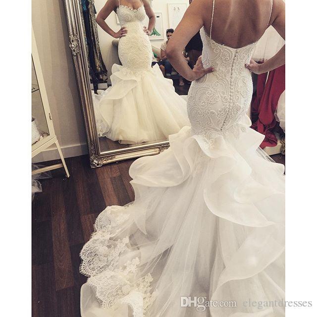 2021 New Mermaid Lace Sweetheart Beaded Bianco Abiti da sposa con Cappella Treno Pearle Pizzo Bella Abiti da sposa Arabo Arabo Abiti Abiti