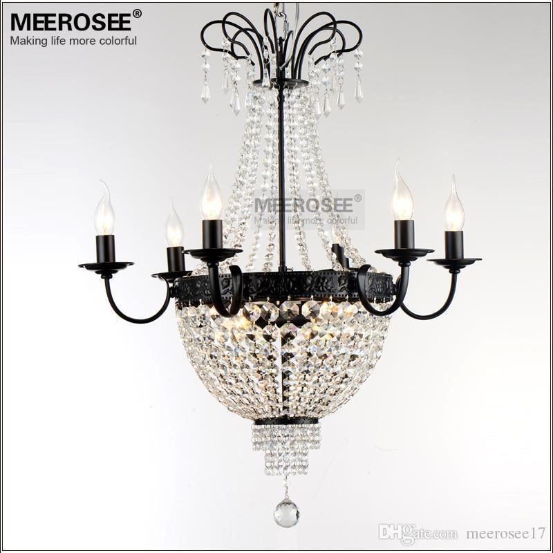 Crystal Chandelier Light Fitting French Vintage Lighting Fixture Wrought Iron White Chrome Black Color For Dining Room