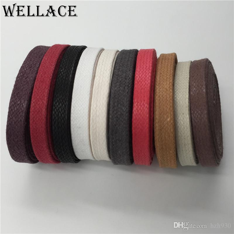 Weiou high quality waxed cotton Athletic shoestrings waxed lacing cord Unisex 100% Cotton Waxed Shoe Laces for boots waterproof