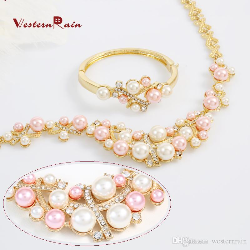 WesternRain Fashion Pink Pearls Costume Jewelry Ladies Artificial Pearl Necklace Set New Product 2016 Gold plated jewelry A062