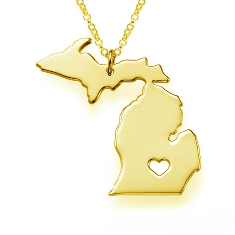 America Michigan State Map Pendant Necklaces With A Heart DIY State Pendant & Necklace Stainless Steel Jewelry Wholesale