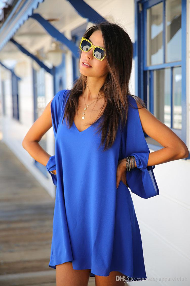 Fashion New Sexy Women Casual Dress V Neck Loose Chiffon Short Mini A Line Dresses for Women Plus Size Summer Dresses