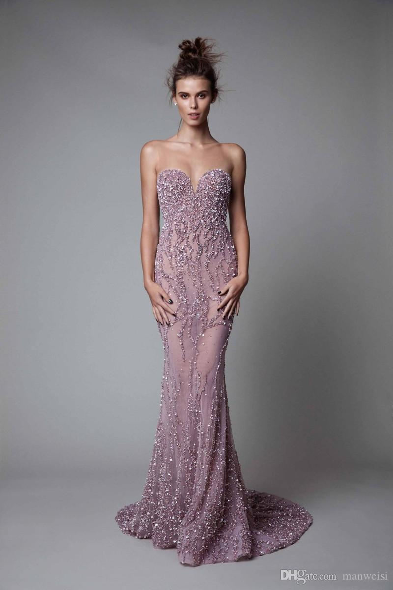 Berta 2019 Lavender Evening Dresses Backless Luxury Crystal Illusion Beads Mermaid Prom Gowns With Detachable Train Sheer Neck Party Dress