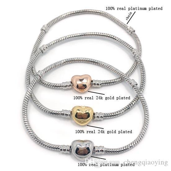 NOUVEAU NOUVEAU Chaîne de serpent plaqué 100% plateinum de haute qualité 100% 24K Plaqué de coeur plaqué or argenté Bracelet Fit Fashion Pandora Bracelet DIY
