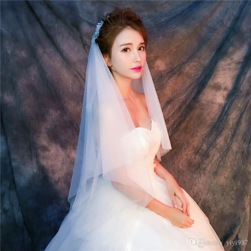 Veli all'ingrosso Immagini vere veli viola veli bianchi avorio da sposa Buon Tulle veloce spedizione gratuita