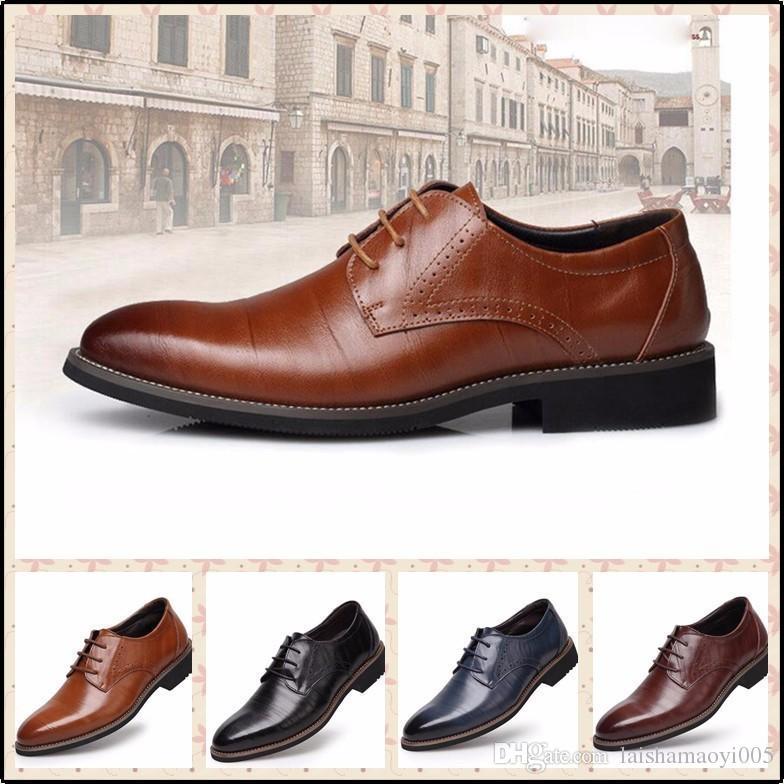 178b4f81051 Acheter Grande Taille 38 48 Mode Hommes Chaussures Habillées Bout Pointu  Lace Up Men s Casual Chaussures Marron Noir En Cuir Oxfords Chaussures De   32.94 Du ...