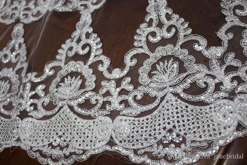 2T NOUVEAU VEIL DE MARIAGE DE MARIAGE 3-5 Mètres de WirtLe Wirt Dentelle Appliques Purfle Longue Cathédrale Veil de mariage V7002
