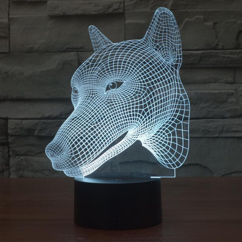 wolf novelty 3d optical illusion led table lamp lighting. Black Bedroom Furniture Sets. Home Design Ideas