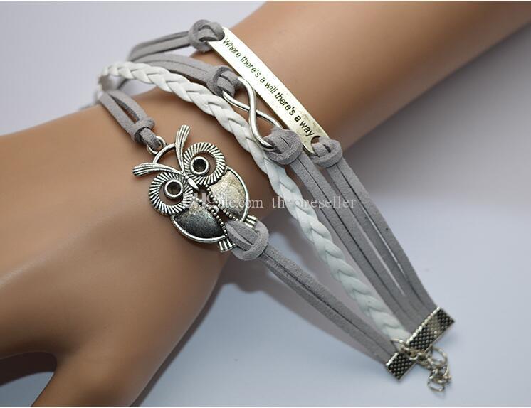 Nieuwe aangekomen DIY charme sieraden mode lederen schattige oneindigheid armbanden zilver pick-stijl lederen armbanden uilen stel