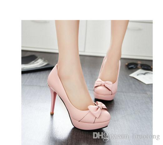 Sweet spring ultra fine with big yards single shoe shallow mouth round head waterproof paint bowknot is lazy woman shoes