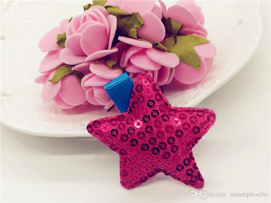 Boutique Gilrs gli accessori dei capelli cute glitter paillettes Star neonate forcelle del bambino