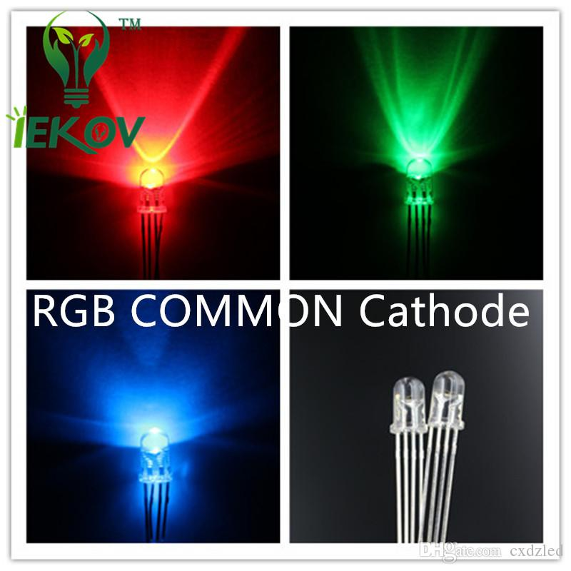/bag LED 5mm 4Pin Tri-Color RGB Red Green Blue COMMON Cathode 4Pins Tri Color Emitting Diodes F5 RGB Water Clear LEDs LIGHT