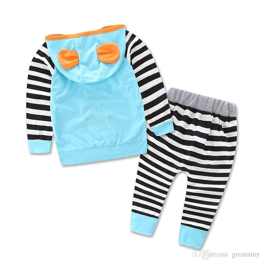 حار نمط الخريف رومبير الرضع ملابس للطفل مخطط بذلة 2 قطع تعيين طفل عارضة 3d مقنعين الملابس دعوى