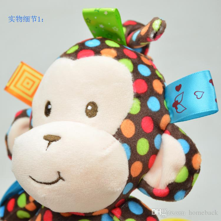 Free DHL Plush Baby Toy Sozzy Baby Rattle Toys Monkey Pull Bell Plush Toys Infant music box car hanging bed hanging bell