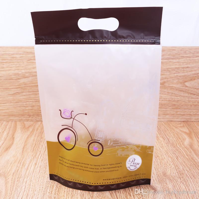 15.3 * 23.2cm 식품 학년 인쇄 된 플라스틱 일어나 가방 자체 adhensive 지퍼 잠금 플라스틱 쿠키 가방 / 빵 가방 / 간식 가방