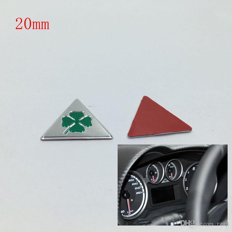 20 mm Bonne qualité en aluminium pour ALFA ROMEO Cloverleaf vert Delta Logo voiture emblème badge autocollant Autocollants