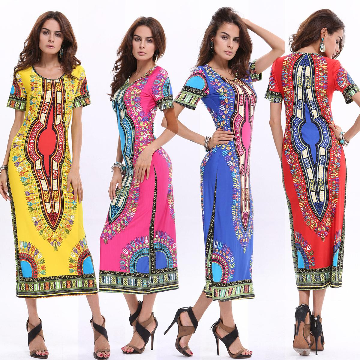 2017 2016 Summer Bohemian Long Dashiki Dress Women Traditional ...