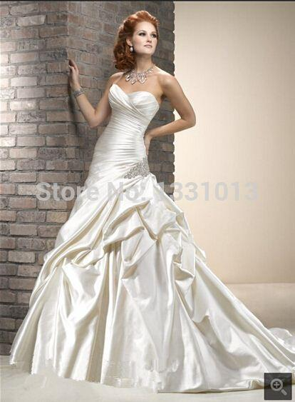 2016 Ms358 Wedding Dresses Corset Bodice Drop Waist Satin Ball Gown With Appliques Custom Made Cbgx Plus Size Gowns Pretty